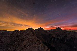 Trekking under the starry night