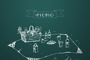 Outdoor picnic Hand drawn style