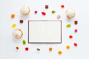 Sweets Mock Up with Notebook