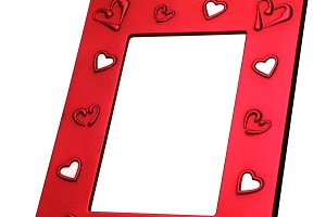 red rectangle frame with hearts