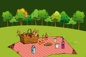 picnic in park, Hand drawn style