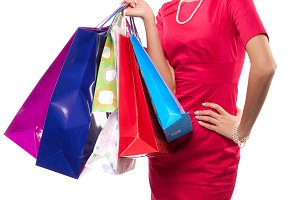 woman with many color packages