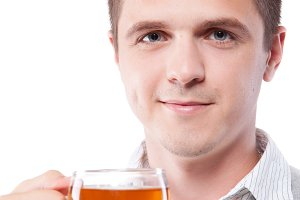 man with fresh cup of black tea