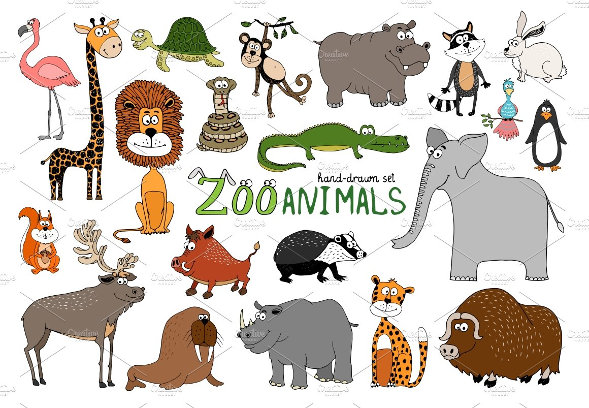 74810 Set Of Hand Drawn Zoo Animals on Zoo Printables