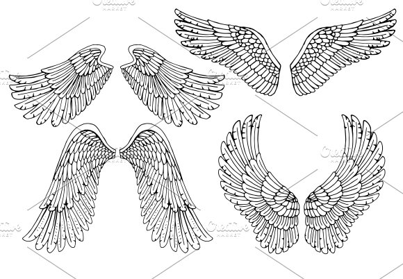 Vector Angel Wings Illustrations Creative Market