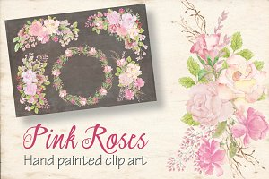 Watercolor sprays: pink roses