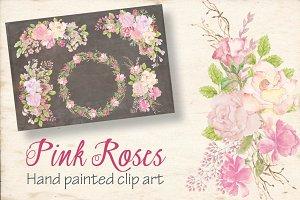 Watercolor sprays: pink roses