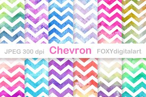 Watercolor Chevron Digital Paper Set