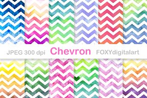 Watercolor Chevron Digital Paper