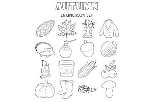 Autumn icons set, outline style