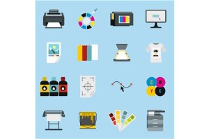 Printing icons set, flat style