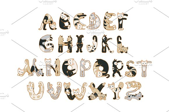 Cats alphabet. Vector - Objects