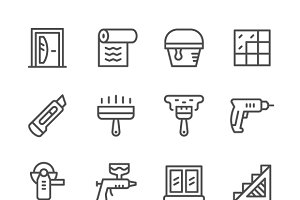 Set line icons of repair