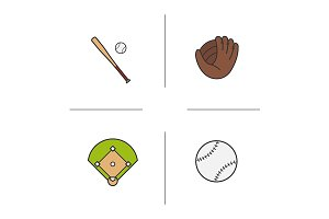 Baseball. 4 icons. Vector