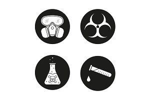 Chemical industry. 4 icons. Vector
