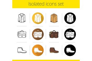 Autumn accessories. 12 icons. Vector