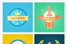 Flat vector winner emblems