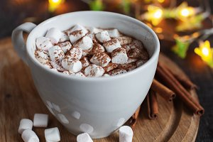 The cup of cacao with marshmallow