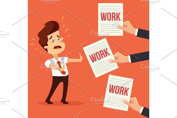 Many work. Busy man character - Illustrations
