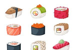 Sushi rolls flat food vector