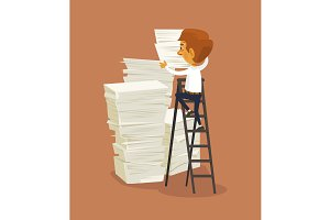Businessman and big stack of papers