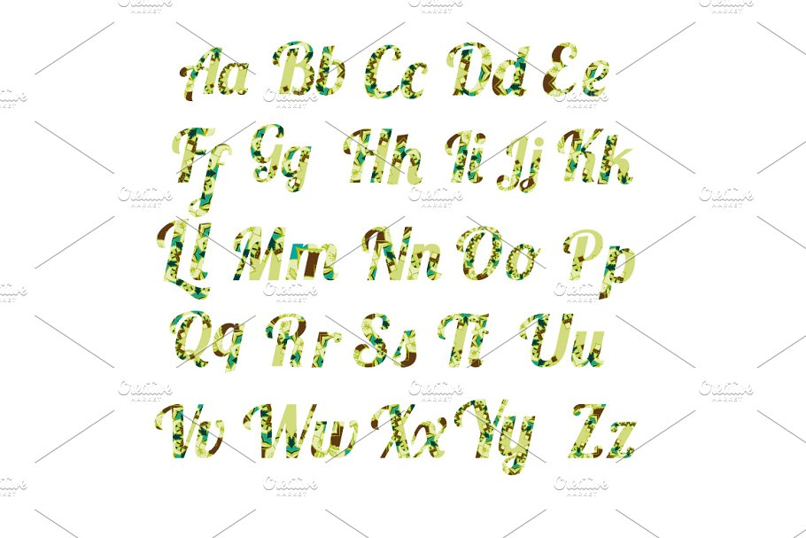 Best Floral font Vector