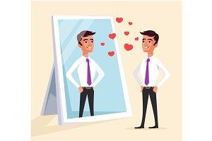 Narcissistic man looks at mirror