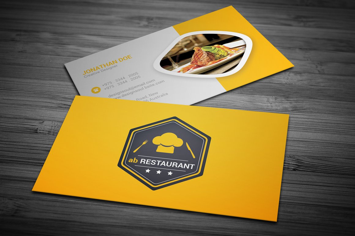 Restaurant business card business card templates creative market colourmoves