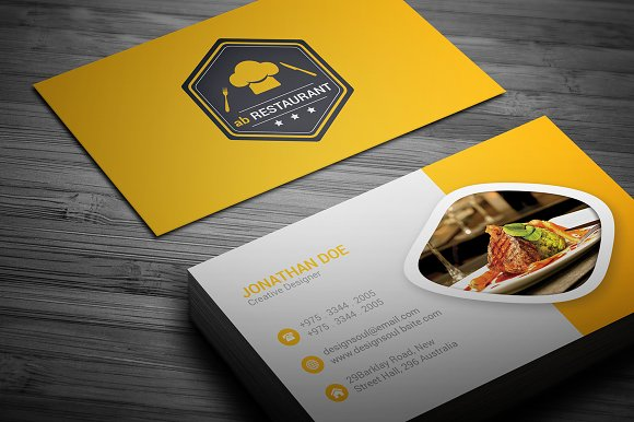 Restaurant business card business card templates creative market reheart Choice Image
