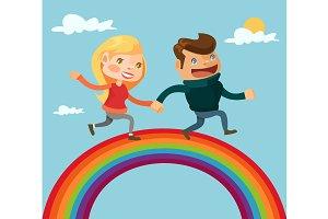 Couple lovers running on rainbow