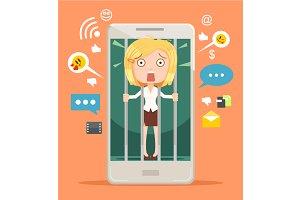 Woman hostage of modern technologies