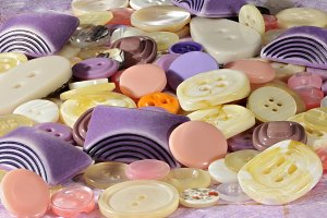 Mixture of colored plastic buttons