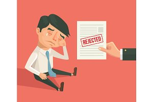 Office worker man received refusal