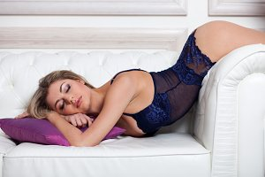 woman in blue lingerie