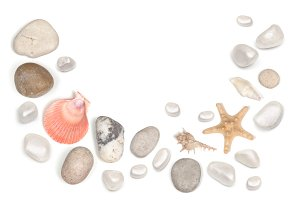 frame of stones and seashell