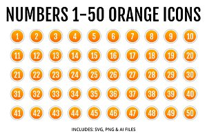 Numbers 1-50 Orange Icons Style 2