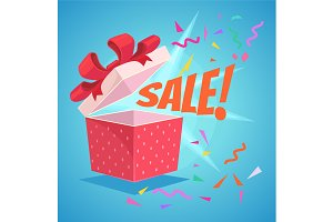 Open sale gift box with red bow