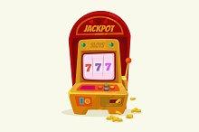 Slot machine with 777 and money