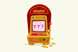 Slot machine with 777 and money