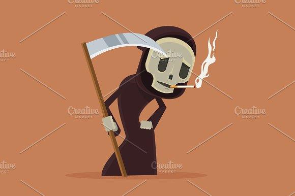 Stop smoke. Smoking death character - Illustrations
