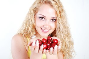 woman with red cherry