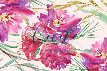 Cecile. Red roses watercolor clipart