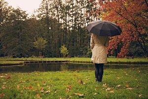 Girl under umbrella