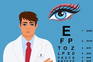 eye doctor, ophthalmologist, vector