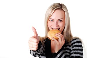 woman with fresh hamburger