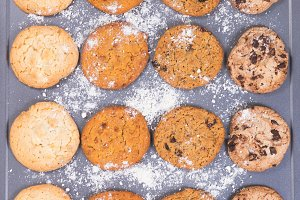 Baked Cookies and flour on sheet
