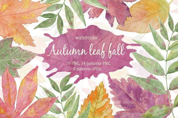 Autumn leaf fall. Watercolor.