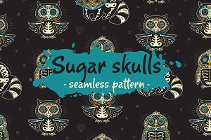 11 Sugar skulls seamless patterns