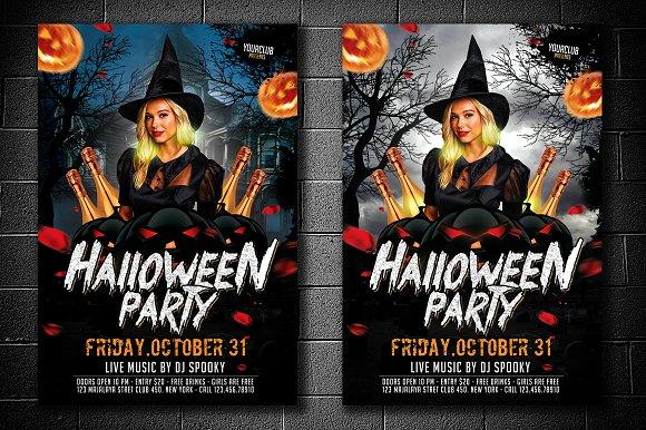 halloween party flyer 2 version flyer templates creative market
