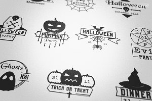 Halloween Night Vector Badges Logos